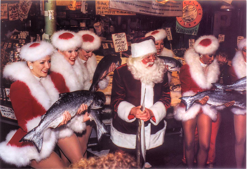 Santa rockettes and fish