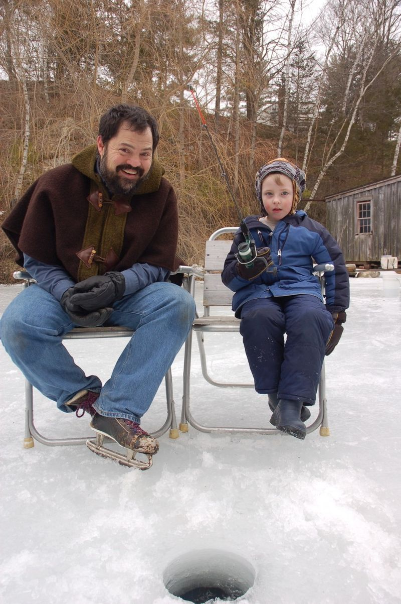 Dad and Lad Ice Fishing